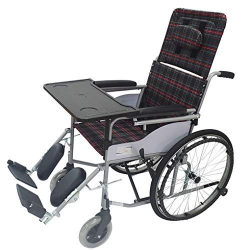 Yxsd rolstoel draagbare reisstoel volledig kantelbare lichte klapstoel van aluminiumlegering met oude trolley van leer