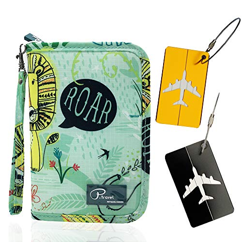 Portafoglio da viaggio Portafoglio per passaporto, custodia per documenti di famiglia con chiusura a cerniera, carte d'imbarco carte d'identità con carta di credito bag + 2 etichette per bagaglio (3 p