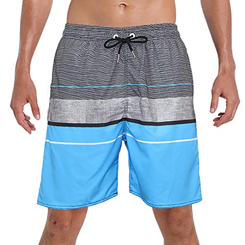 Mens Swim Trunks Bunny Rabbit in Teal Quick Dry Beach Board Shorts with Mesh Lining