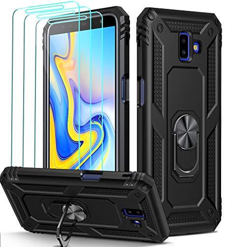 ivoler Funda para Samsung Galaxy J6+ 2018 / J6 Plus 2018 + [Cristal Vidrio Templado Protector de Pantalla *3], Anti-Choque Carcasa con 360 Grados Anillo iman Soporte, Hard Silicona TPU Caso - Negro