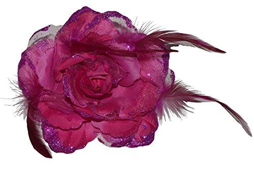 Accessoires & Schmuck Haarschmuck mit Federn Haarblume Ansteckblume Ansteckblüte Glitzer Hochzeit Karneval (Pink)
