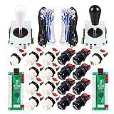 EG STARTS 2 Player Arcade Joystick DIY Parts 2X USB Encoder + 2X Ellipse Oval Joystick Hanlde + 18x American Style Arcade Buttons for PC, MAME, Raspberry Pi, Windows System (Black & White)