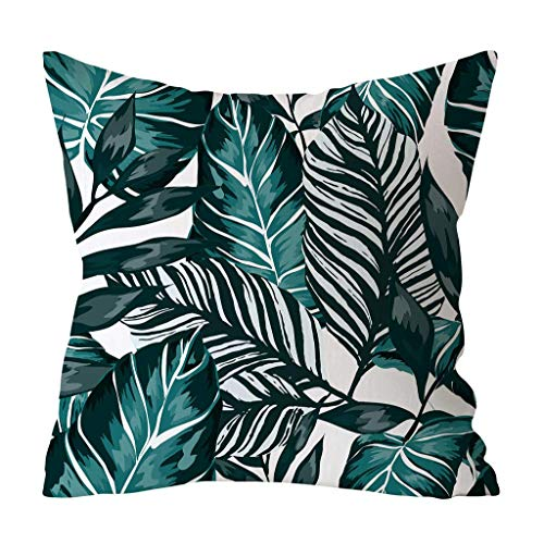 FENGLI Vintage Tropical Flower Cushion Cover,Yellow Red Green Rainforest Leaf Multicolour Summer Leaves Throw Pillow Case, Soft, Flowers Printing for Home Sofa Caravan 45 * 45cm (Color : C)