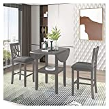 Dining Chair Kitchen Chair Dining Room Chair 3 Piece Counter Height Kitchen Dining Set with Round Drop Leaf Dining Table, One Shelf and 2 Cross Back Padded Chairs, Farmhouse Dining Room Set for Small