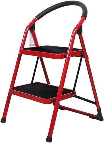ZPWSNH échelle de ménage Pliante - 2 marches   3 marches épaissie échelle d'escalier intérieur escabeau Petit Marche-Pied Tabouret léger en Fer Escabeau (Couleur   rouge, Taille   2-Step)