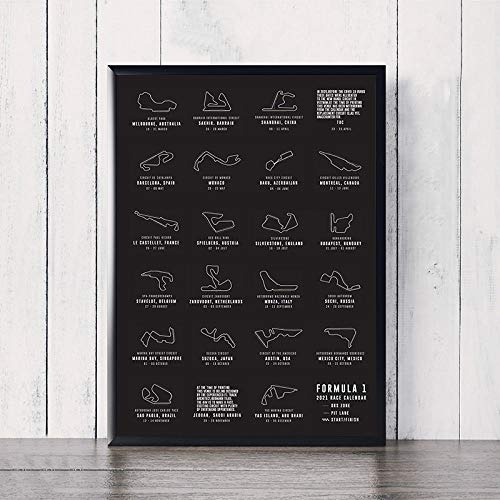 VVSUN F1 Formel Grand Prix Rennkalender Circuit Map Track Art Poster Rennen Leinwand Malerei Drucke Bild Wohnkultur 50X70cm 20x28inch Kein Rahmen
