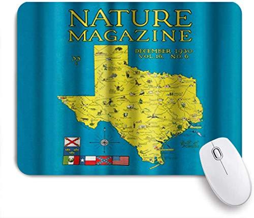 VORMOR Mauspad - Nature Magazine - Detaillierte Karte des Bundesstaates Texas mit malerischen Sehenswürdigkeiten - Gaming und Office rutschfeste Gummibasis Mauspads,240×200×3mm