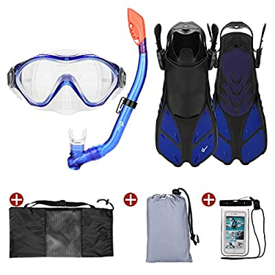Odoland 6-in-1 Kids Snorkeling Packages Snorkel Set, Anti-Fog and Anti-Leak Full Face Snorkel Mask with Adjustable Swim Fins, Backpack and Waterproof Case for Boys and Girls Age 9-15, Blue
