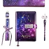 6Wcveuebuc Cuaderno B6 con bloqueo, cuadernos de contraseña rellenables, diario de constelación personal Starry Sky, juego de cuaderno de diario de constelación