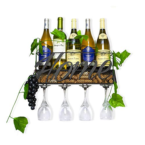 FLOMAC FINEST Wine Rack Wall Mounted – 4 Glass and 5 Wine Bottle Holder for Home and Kitchen Décor - Decorative Wall Wine Rack Comes with a Cork Holder and Grapes and Leaves Theme Set