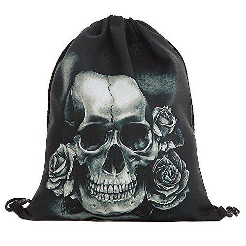 Beutel Tasche Rucksack Turnbeutel Print Skull Totenkopf mit Rose