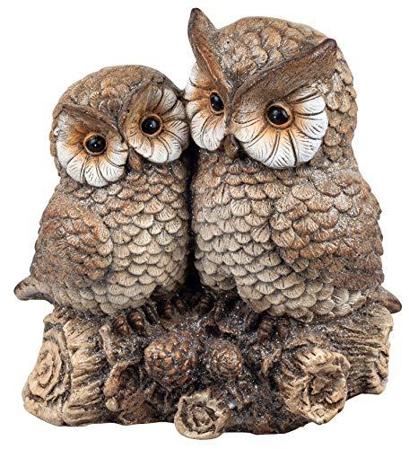 dekojohnson rustikales Eulenpaar Owl Eulen-Figur Tierskulptur Herbsteule Herbstdeko Schneeeule Wintereule Gartendeko Gartenfigur Statue braun 30cm