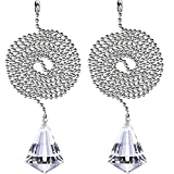 Stark Star 2 Pack Crystal Diamand Clear Beaded Pull Chain Extension Each 1 Meter Length for Ceiling Fan Light (Clear Diamond, 2 Pack) -  stark star beaded