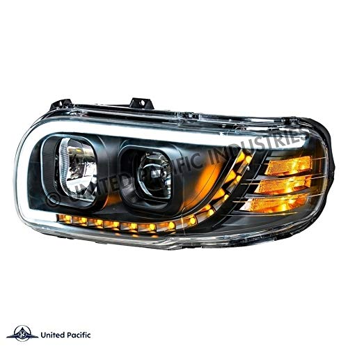 United Pacific 31647'Blackout' Projection Headlight W/LED Turn & Position Light For 2008-15 PB 388 & 2008-2021 389 -Driver