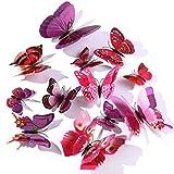 Derbway 12 Pezzi Farfalle Adesivi Murali,3D Adesivi Murali da Parete per Casa,Camera dei Bambini e Stanza delle Ragazze-Viola