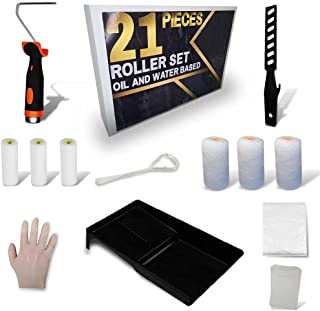 21 Pieces Paint Roller and Tray Set for Oil+Water Paint|Extra Large DUST Sheet| by FET| 4inch Small Kit