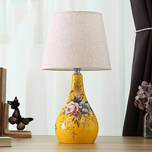 SKC Lighting-lampe de table Lampe de chevet de style pastoral européen, lampe de table en céramique de commutateur de bouton, 25 * 25 * 46CM (Couleur : #3-2)