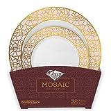 Decorline - Set de Platos de Plástico para Fiestas Premium 32 Piezas - Colección Mosaico Elegante - Oro - Platos Gruesos y Duraderos -Juego de Platos de Cena de Plástico para Toda Ocasión