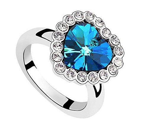 Demarkt Fashion Plaza Brand Neu Damen Ring Dunkel Blau Herz Form Kristall Elegant Stil