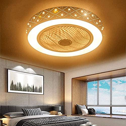 Luz del techo del ventilador Lámpara LED moderna regulable con iluminación y velocidad de viento ajustable silenciosa remota para la sala de estar de la sala de clase Cocina