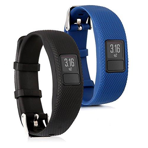 kwmobile 2X Brazalete Compatible con Garmin Vivofit 4 - Pulsera de Silicona y TPU Negro/Azul Oscuro sin Fitness Tracker