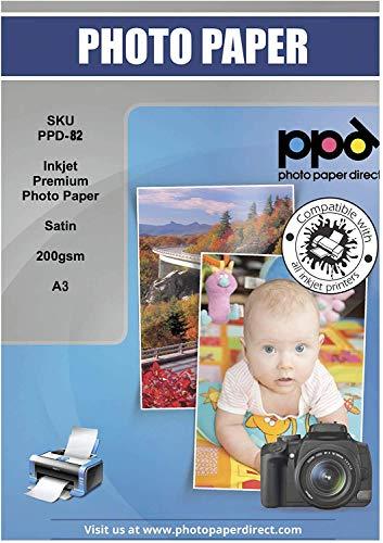 PPD 50 Blatt x A3 PREMIUM Inkjet 200 g/m² Fotopapier In Profiqualität - Seidenglänzend Satin Mikroporöse Beschichtung Sofort Trocken und Wasserfest, DIN A3 x 50 Blatt PPD-82-50