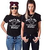 Sister Tshirt für 2 mädchen BFF t-Shirt für Zwei freundschafts Geschenke Schwestern Tshirt, Schwarz, Left-M+Right-S