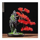 planta de escritorio Plantas de árboles de bonsái artificiales con macetas de cerámica Rocas realistas Hecho por el hombre y esculturas de cerámica Decoración de escritorio Planta artificial Fake Tree