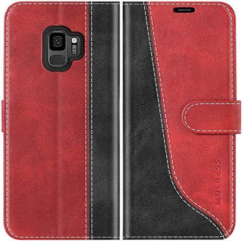 Mulbess Handyhülle für Samsung Galaxy S9 Hülle Leder, Samsung Galaxy S9 Handy Hüllen, Modisch Flip Handytasche Schutzhülle für Samsung Galaxy S9, Wine Rot