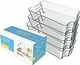 Set of 4 Fridge Organizers (X-Large) - by Moore Organized | Durable Clear Bins For Organizing, Refrigerator And Freezer Storage Bins - Acrylic Storage Bins For Tidy Kitchens - Pantry Storage Bins