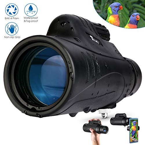 TELMU 10X42 Monocular Telescope, IPX7 Waterproof with Smartphone Holder, BAK4 Prism and FMC Objective Lens, Ideal for Bird Watching, Concerts Viewing, Hunting