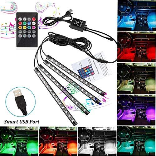 Auto Innenraumbeleuchtung Auto Fußraumbeleuchtung LED Atmosphäre Licht RGB 48 LEDs Auto Streifen Licht Steuerbare mehrfarbig Musik Innenbeleuchtung mit USB-Port und Fernbedienung (48 Leds)