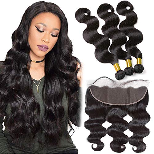 Cheap 9A Brazilian Virgin Human Hair Bundle And 13x4 Frontal Pre Plucked Best Peruvian Indian Body Wave hair Weave Real Ear to Ear Swiss 4x13 Lace Closure With Baby Hair 2 Bundles of 16 18 With 14In