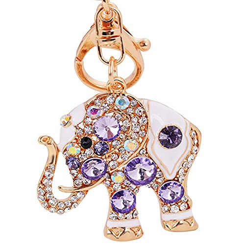 DZHTWSRYGR Llavero Llavero Diamante de imitación Elefante Llavero Anillo Llavero Llavero Multifuncional