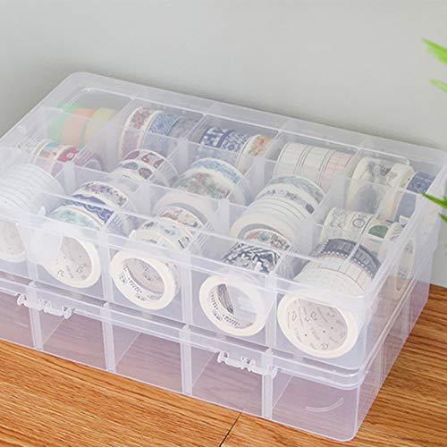 Heaviesk 15 Grids Desktop Tape Aufbewahrungsbox Mini Papier Sticker Tape Box transparente Kunststoffkoffer Handwerk Veranstalter