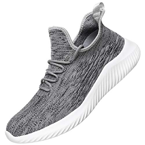 WsDebutting Men's Casual Shoes Slip-on Breathable Mesh Soft Sole Run Walk Athletic Sport Outdoor Shoes for Men Gray Size 10