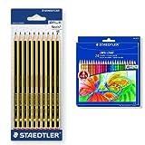 Staedtler - Pack 10 unidades lapicero Noris HB + 24 lápices de colores Noris Club