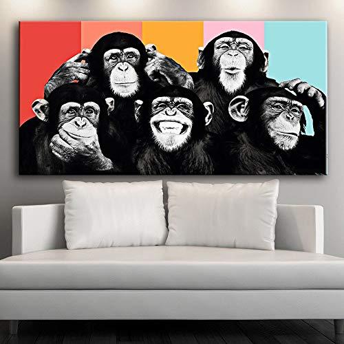 ganlanshu Graffiti en la Pared Mono Lienzo Cuadro pósters e Impresiones Lienzo Moderno Arte de la Pared Animal,Pintura sin Marco,30x60cm