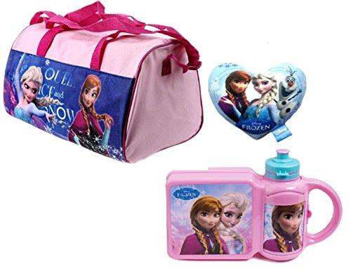 Trendstern Trendprodukteshop Frozen Disney Sporttasche Die Eiskönigin Kinder Reisetasche 3'er Set Sporttasche+Lunchbox+Trinkflasche