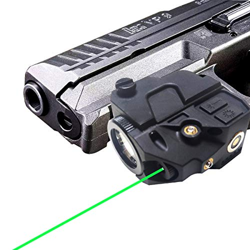 Low-Profile Picatinny Rail-Mounted Green Laser Flashlight for Pistols and Rifles,Magnetic USB Rechargeable Gun Laser Sight with Ambidextrous ON/Off Buttons for Pistols,Rifles Shotguns