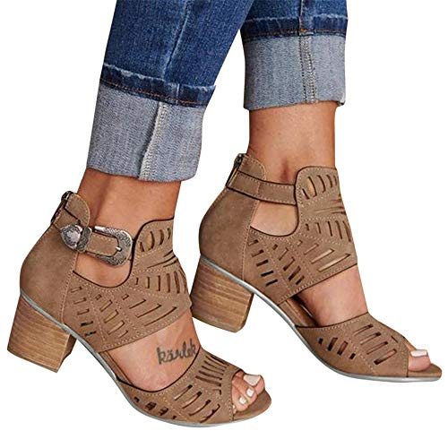 Aniywn New Sandals Women's Peep Toe Cut Out Chunky Stacked Block Heel Ankle Booties Open Toe Mid Heel Sandals Brown