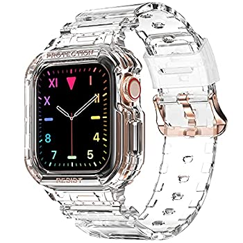 Compatible for Apple Watch Clear Band 40mm 38mm with Case amBand Women Cute Girl Crystal Clear Jelly Protective Case with Bands for Apple Series 3 Watch Band and iWatch 6 5 4 3 2 1 Transparent