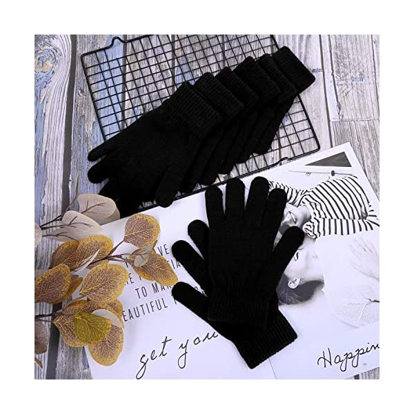 Cooraby 12 Pairs Winter Knitted Magic Gloves Stretchy Full Fingers Gloves for Men, Women or Teens