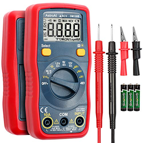 AstroAI Digital Multimeter, Voltmeter 1.5v/9v/12v Battery Voltage Tester Auto-Ranging/Ohmmeter/DMM with Non-Contact Voltage Function, Accurately Measures Voltage Current Amp Resistance Capacitance