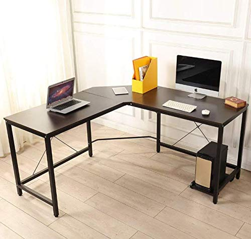 Dawoo L-förmiger Schreibtisch, Gaming-Computer-Eckschreibtisch PC Studio Table Workstation für das Home Office, 150 cm (L) * 60 cm (B) * 75 cm (H) (Walnussfarbe)