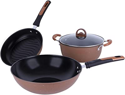 Cookware set, Maifan stone non-stick pan universal pot bottom less oily smoke