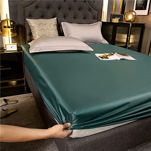 LXTOPN - Juego de cama de satén de seda, 2/3 piezas, satén de seda, color liso, sábana bajera para bebé, protector de colchón impermeable, 100 % microfibra (verde, 150 x 200 cm)