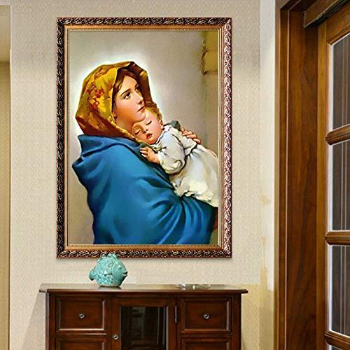 ganlanshu Rahmenloses GemäldePoster mit Jungfrau Maria mit Baby- und Fresko-Leinwanddekoration der Mutter Jesu Christi 30X45cm