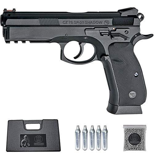 Ecommur. CZ SP-01 Shadow-ASG | Pistola de perdigones (Bolas BB's de Acero) de Aire comprimido semiautomática 4,5mm + maletín + balines y CO2