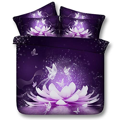 Yankuoo 3D Printed Lotus Butterfly Quilt Cover, Purple Elegant Flower Dream Catcher Duvet Cover Pillowcase, Garden Romantic Woman Sheets (Size : 240225cm)